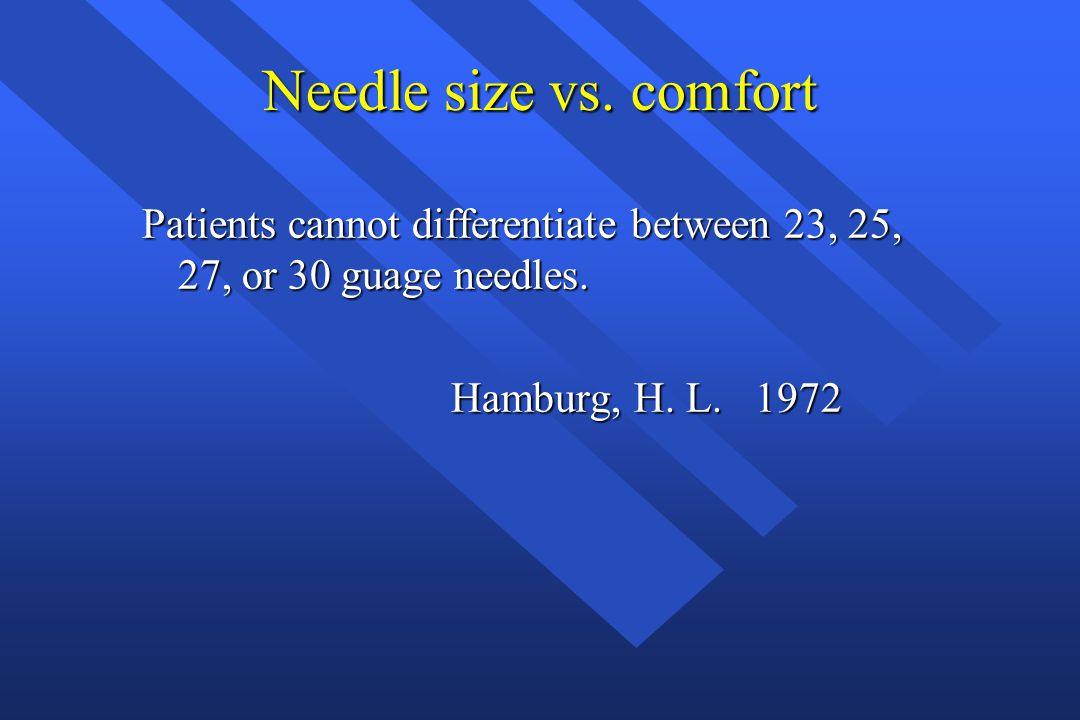 Needle size vs. comfort Patients cannot differentiate between 23, 25, 27, or 30 guage needles. Hamburg, H. L. 1972 Hamburg, H. L. 1972