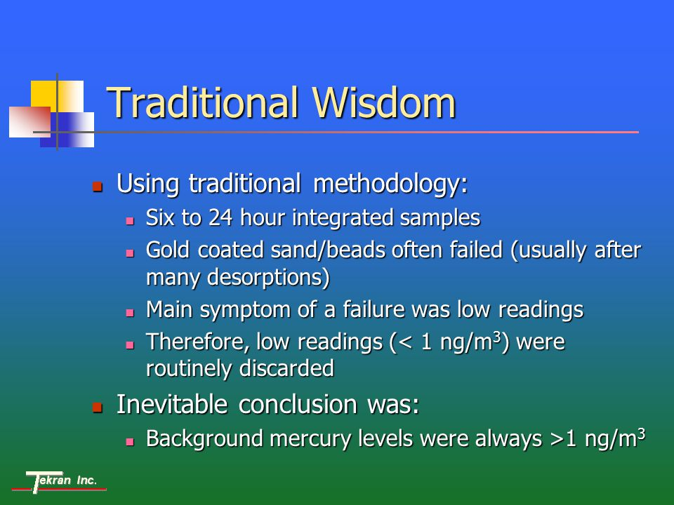 Traditional Wisdom Using traditional methodology: Using traditional methodology: Six to 24 hour integrated samples Six to 24 hour integrated samples Gold coated sand/beads often failed (usually after many desorptions) Gold coated sand/beads often failed (usually after many desorptions) Main symptom of a failure was low readings Main symptom of a failure was low readings Therefore, low readings (< 1 ng/m 3 ) were routinely discarded Therefore, low readings (< 1 ng/m 3 ) were routinely discarded Inevitable conclusion was: Inevitable conclusion was: Background mercury levels were always >1 ng/m 3 Background mercury levels were always >1 ng/m 3