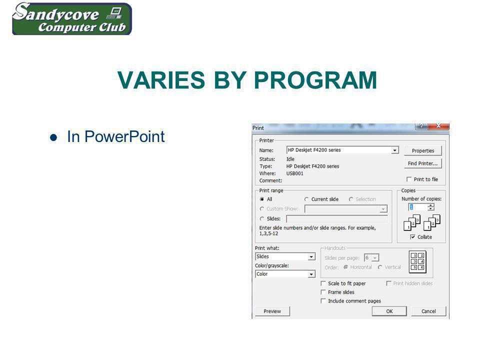 VARIES BY PROGRAM In PowerPoint