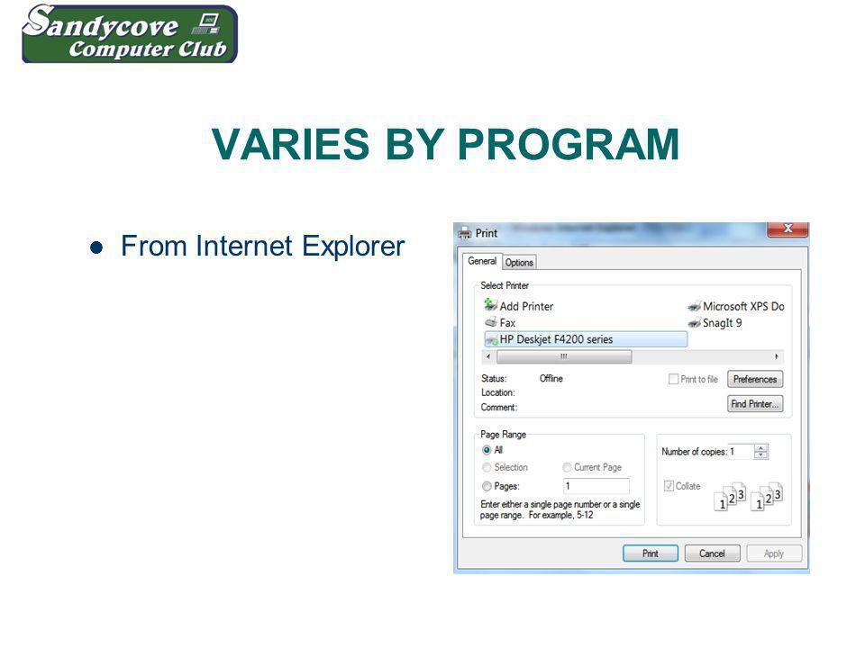 VARIES BY PROGRAM From Internet Explorer