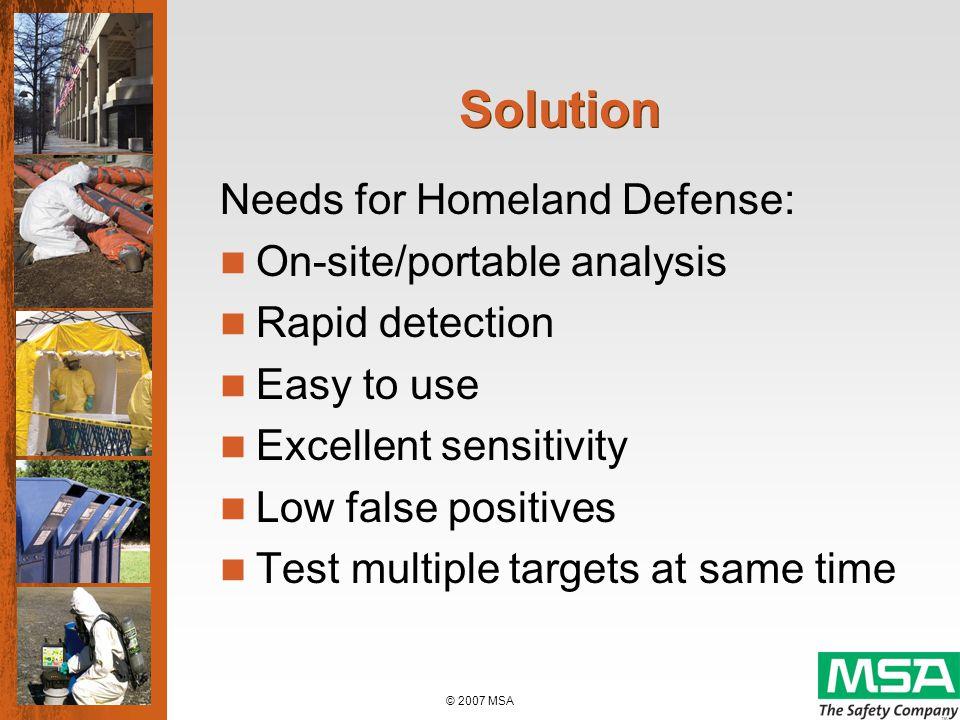 © 2007 MSA Handheld Detector for Biological Agents MSA BIOSENSOR Biological Agent Detector