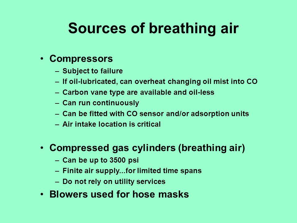 Criteria for Grade D compressed air Oxygen19.5% to 23.5% oxygen (vol) Hydrocarbons< 5mg/M3 (oil mist) Carbon dioxide< 1000 ppm Carbon monoxide< 10 ppm Odorno pronounced odor