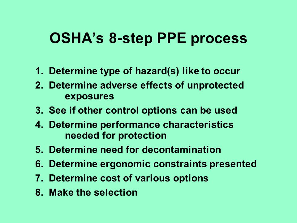 New OSHA Respirator Standard Use engineering controls where feasible Employer supplies respirators and establishes a program Program must be written with work-site specific procedures and elements for required respirator use Program must have an administrator Medical evaluations Fit testing for tight-fitting respirators