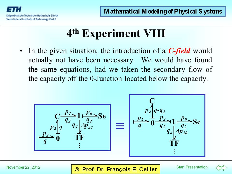 Start Presentation November 22, 2012 4 th Experiment VIII In the given situation, the introduction of a C-field would actually not have been necessary