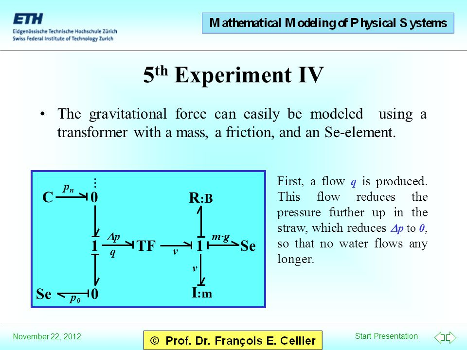 Start Presentation November 22, 2012 1TF1 I :m R :B Se m·gm·g 0... 0 Se C 5 th Experiment IV The gravitational force can easily be modeled using a tra