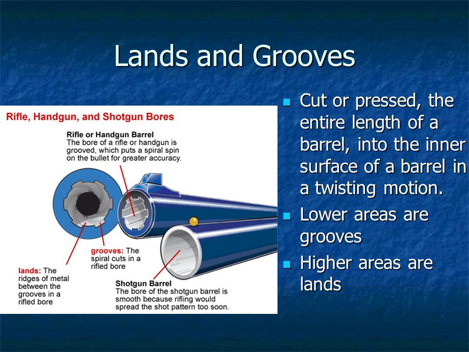 Lands and Grooves Cut or pressed, the entire length of a barrel, into the inner surface of a barrel in a twisting motion. Cut or pressed, the entire l
