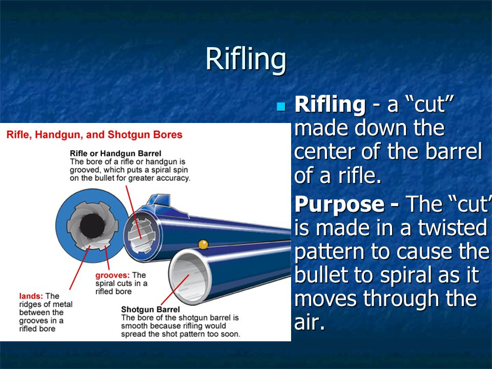 Rifling Rifling - a cut made down the center of the barrel of a rifle. Rifling - a cut made down the center of the barrel of a rifle. Purpose - The cu