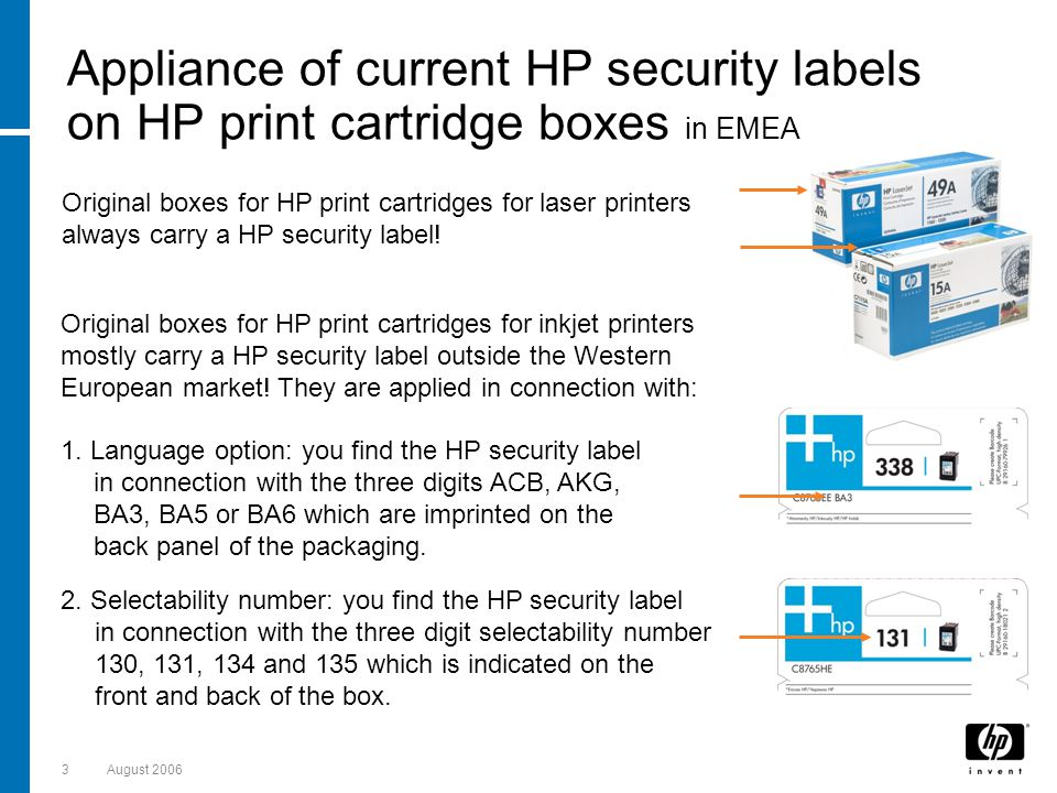 3August 2006 Appliance of current HP security labels on HP print cartridge boxes in EMEA Original boxes for HP print cartridges for inkjet printers mostly carry a HP security label outside the Western European market.
