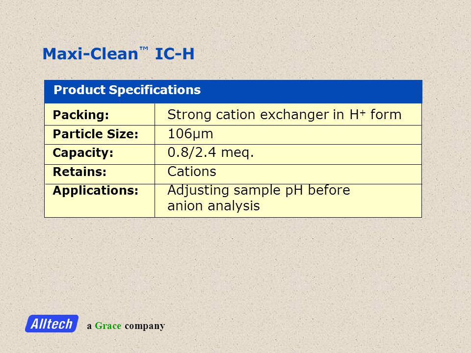 a Grace company Maxi-Clean IC-H Product Specifications Packing: Strong cation exchanger in H + form Particle Size: 106µm Capacity: 0.8/2.4 meq.