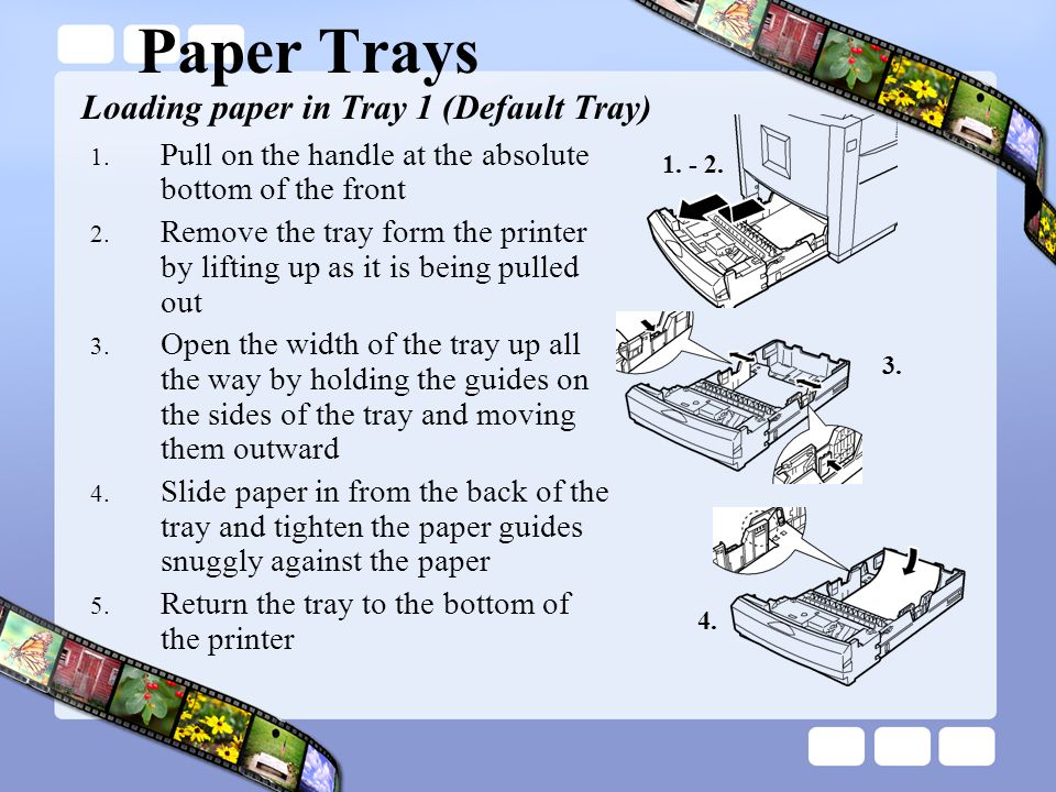 Paper Trays 1.Pull on the handle at the absolute bottom of the front 2.