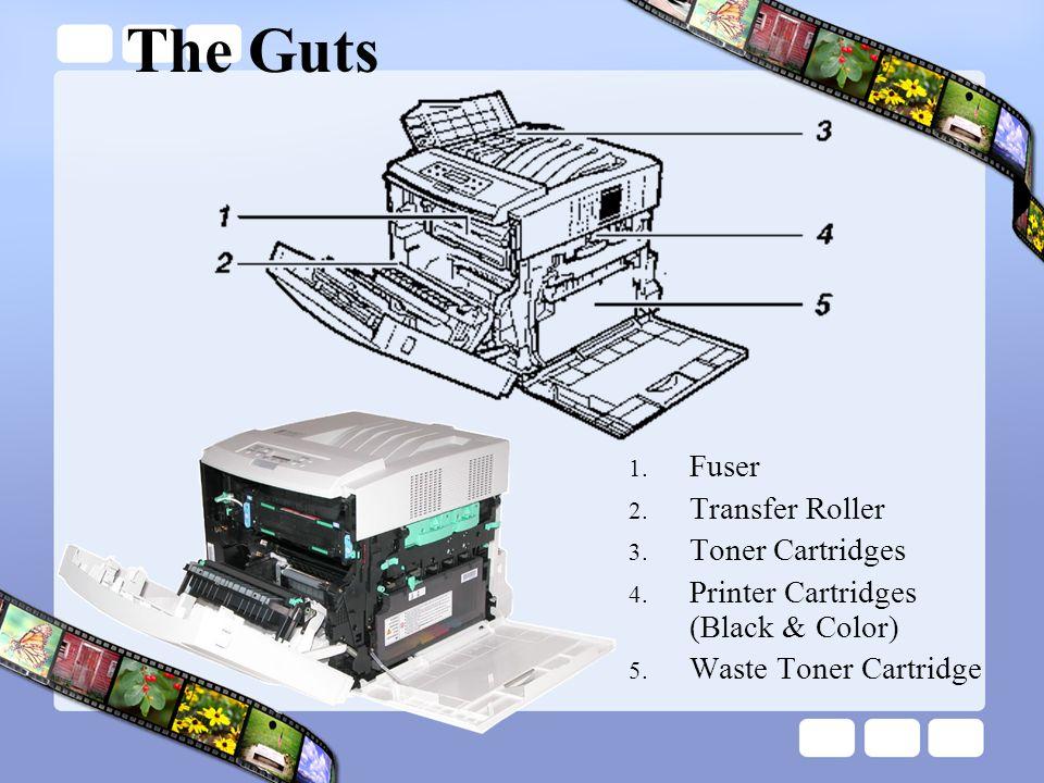 The Guts 1.Fuser 2. Transfer Roller 3. Toner Cartridges 4.