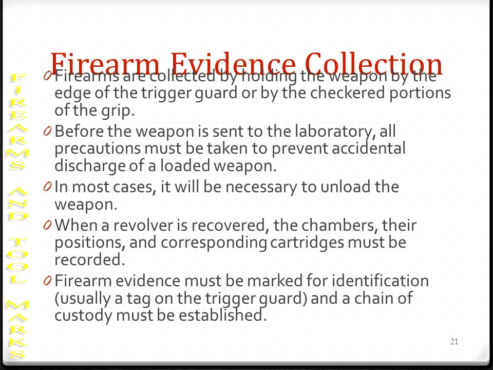 Firearm Evidence Collection 0 Firearms are collected by holding the weapon by the edge of the trigger guard or by the checkered portions of the grip.