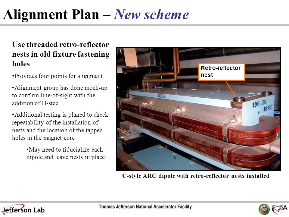Alignment Plan – New scheme Use threaded retro-reflector nests in old fixture fastening holes Provides four points for alignment Alignment group has done mock-up to confirm line-of-sight with the addition of H-steel Additional testing is planed to check repeatability of the installation of nests and the location of the tapped holes in the magnet core May need to fiducialize each dipole and leave nests in place C-style ARC dipole with retro-reflector nests installed Retro-reflector nest