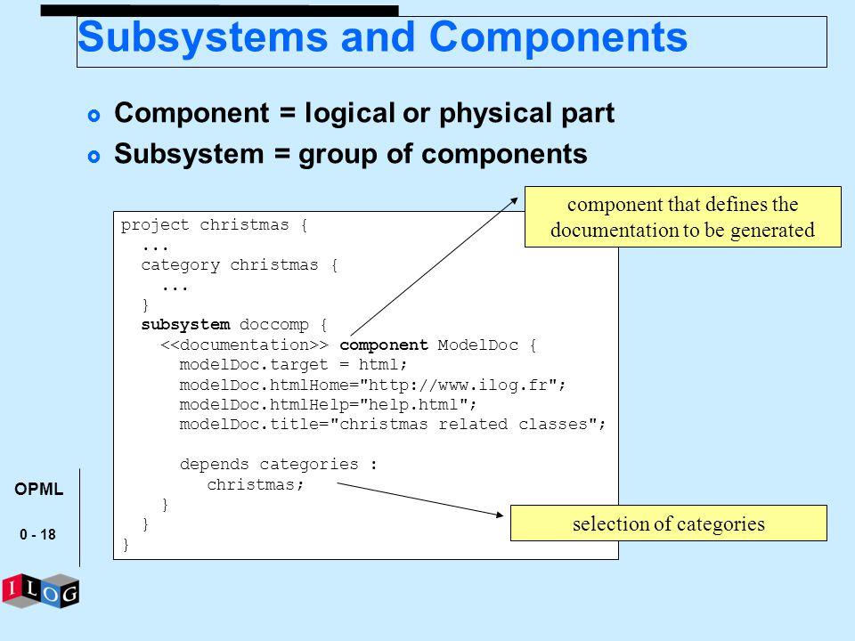 0 - 18 project christmas {... category christmas {... } subsystem doccomp { > component ModelDoc { modelDoc.target = html; modelDoc.htmlHome=