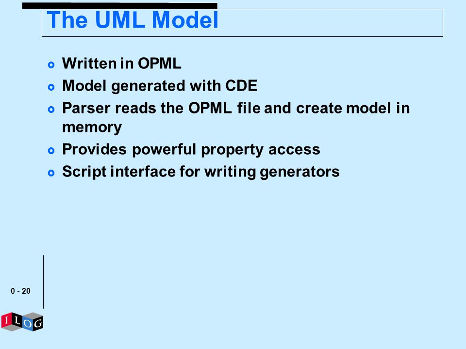 0 - 20 The UML Model Written in OPML Model generated with CDE Parser reads the OPML file and create model in memory Provides powerful property access