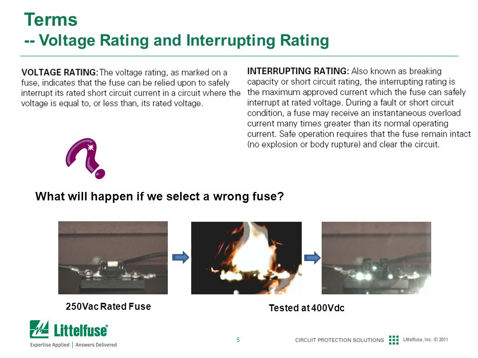 5 Terms -- Voltage Rating and Interrupting Rating What will happen if we select a wrong fuse.