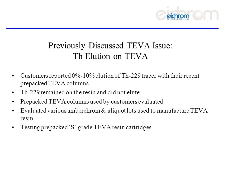 Previously Discussed TEVA Issue: Th Elution on TEVA Customers reported 0%-10% elution of Th-229 tracer with their recent prepacked TEVA columns Th-229 remained on the resin and did not elute Prepacked TEVA columns used by customers evaluated Evaluated various amberchrom & aliquot lots used to manufacture TEVA resin Testing prepacked S grade TEVA resin cartridges