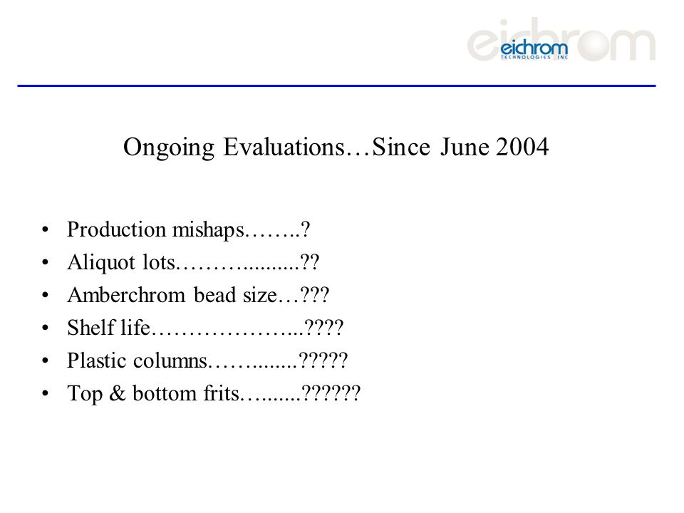 Ongoing Evaluations…Since June 2004 Production mishaps……...