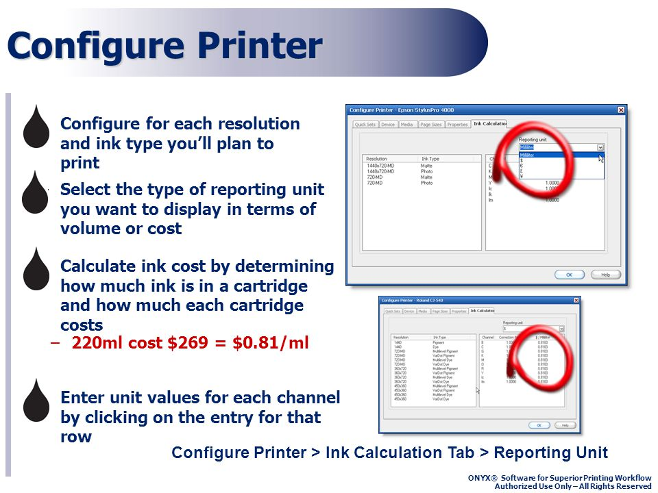 ONYX® Software for Superior Printing Workflow Authorized Use Only – All Rights Reserved Configure Printer Configure Printer > Ink Calculation Tab > Reporting Unit –Select the type of reporting unit you want to display in terms of volume or cost –Configure for each resolution and ink type youll plan to print –Calculate ink cost by determining how much ink is in a cartridge and how much each cartridge costs –Enter unit values for each channel by clicking on the entry for that row –220ml cost $269 = $0.81/ml