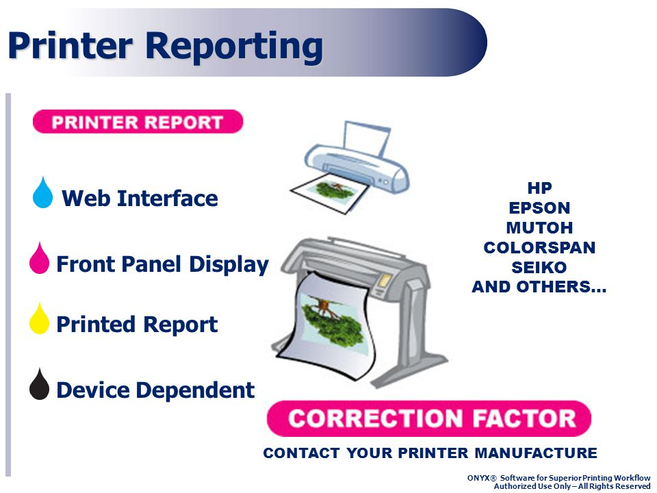 ONYX® Software for Superior Printing Workflow Authorized Use Only – All Rights Reserved Printer Reporting Front Panel Display Device Dependent Printed Report HP EPSON MUTOH COLORSPAN SEIKO AND OTHERS… CONTACT YOUR PRINTER MANUFACTURE Web Interface