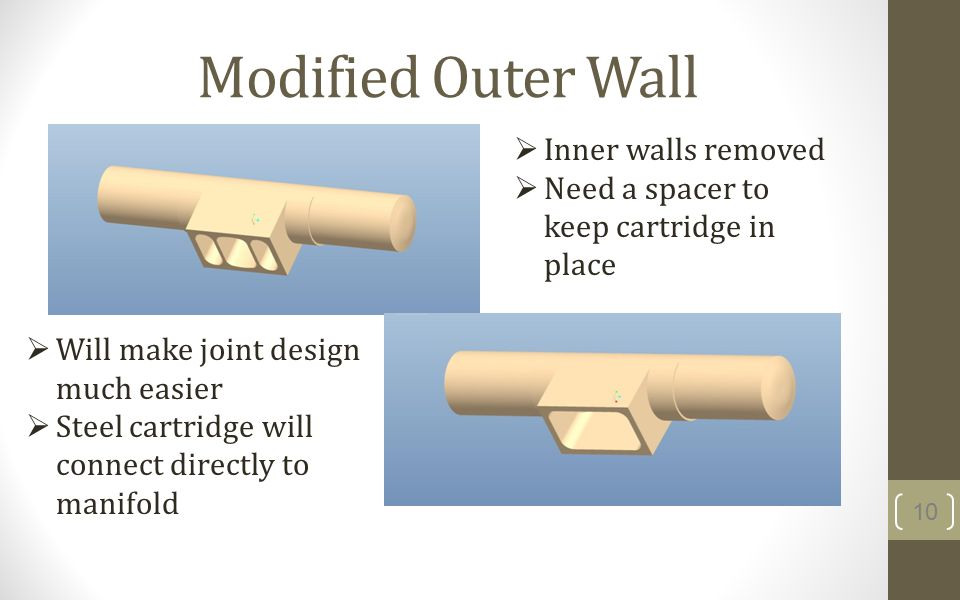 Modified Outer Wall 10 Will make joint design much easier Steel cartridge will connect directly to manifold Inner walls removed Need a spacer to keep cartridge in place
