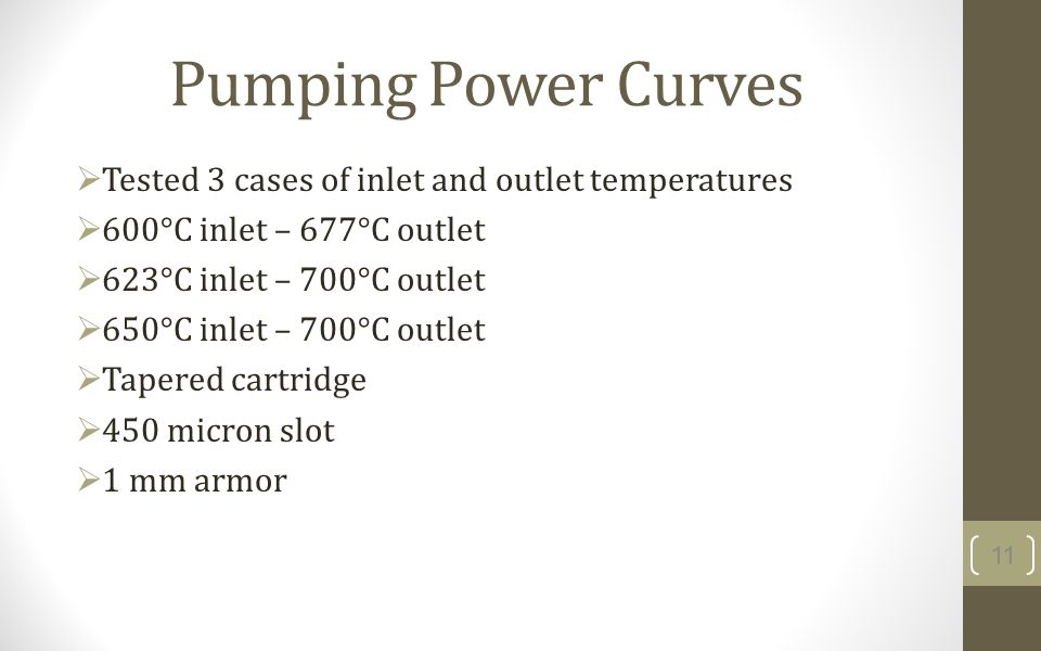 Pumping Power Curves Tested 3 cases of inlet and outlet temperatures 600°C inlet – 677°C outlet 623°C inlet – 700°C outlet 650°C inlet – 700°C outlet