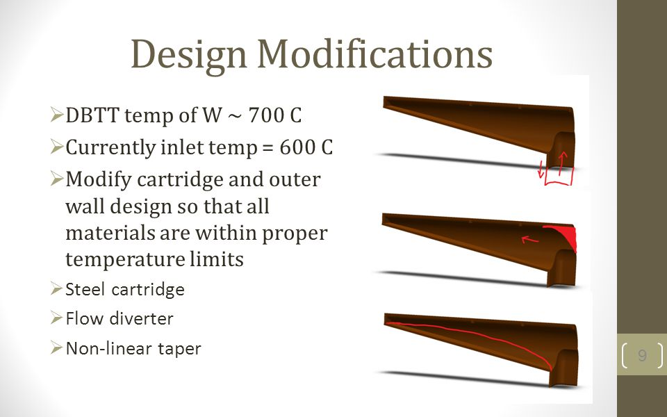 Design Modifications DBTT temp of W ~ 700 C Currently inlet temp = 600 C Modify cartridge and outer wall design so that all materials are within proper temperature limits Steel cartridge Flow diverter Non-linear taper 9