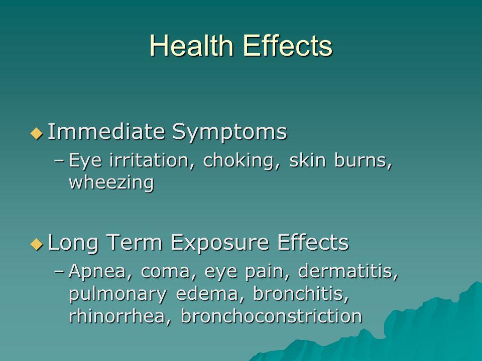 Health Effects Immediate Symptoms Immediate Symptoms –Eye irritation, choking, skin burns, wheezing Long Term Exposure Effects Long Term Exposure Effe