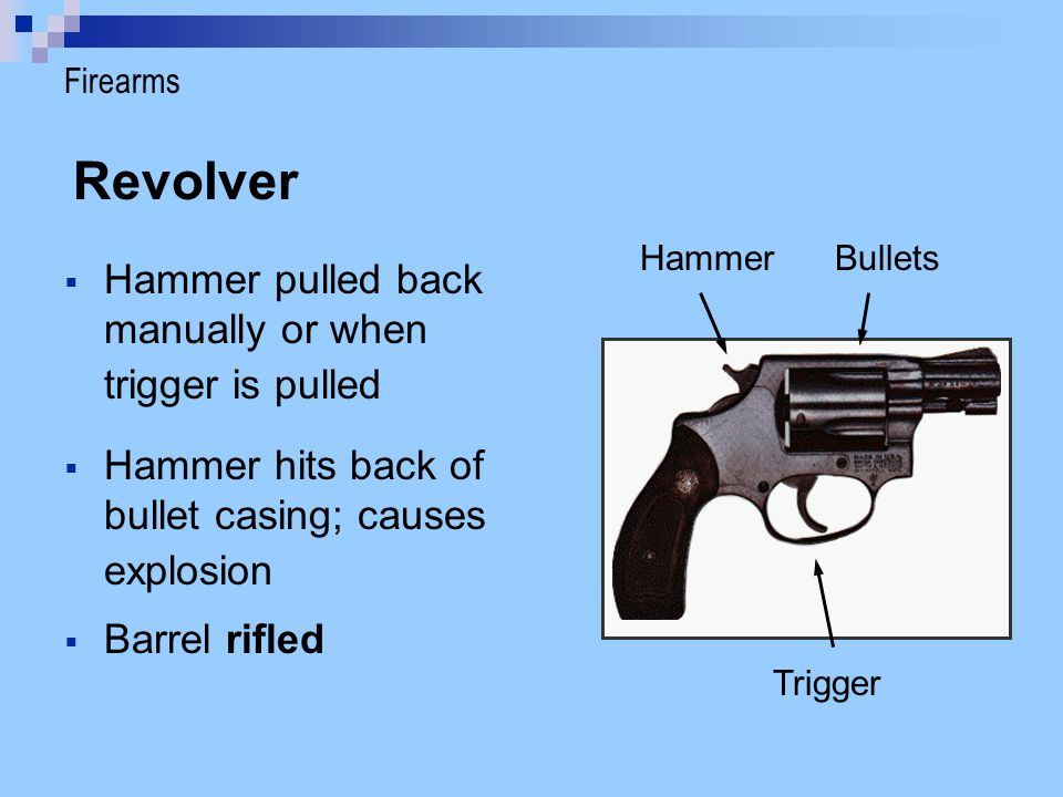 Revolver Hammer pulled back manually or when trigger is pulled Hammer hits back of bullet casing; causes explosion HammerBullets Trigger Barrel rifled