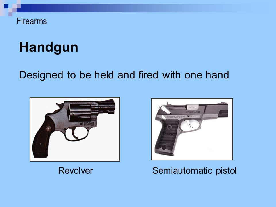 Revolver Hammer pulled back manually or when trigger is pulled Hammer hits back of bullet casing; causes explosion HammerBullets Trigger Barrel rifled Firearms