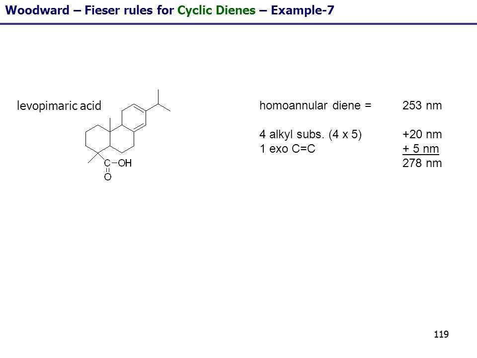 119 homoannular diene = 253 nm 4 alkyl subs. (4 x 5)+20 nm 1 exo C=C+ 5 nm 278 nm Woodward – Fieser rules for Cyclic Dienes – Example-7 levopimaric ac