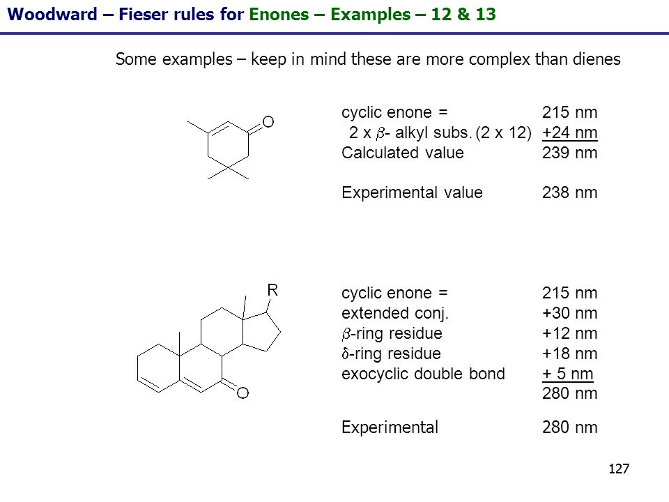 127 Some examples – keep in mind these are more complex than dienes cyclic enone = 215 nm 2 x - alkyl subs.(2 x 12)+24 nm Calculated value239 nm Exper