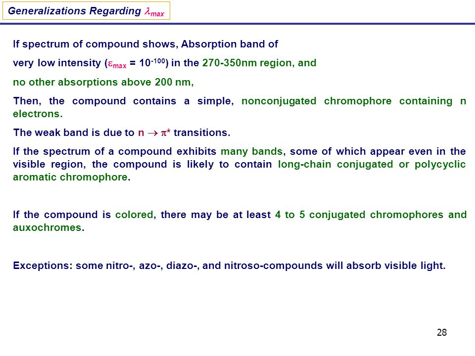 28 Generalizations Regarding max If spectrum of compound shows, Absorption band of very low intensity ( max = 10 -100 ) in the 270-350nm region, and n