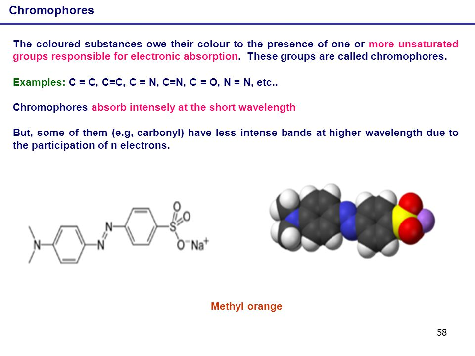 58 Chromophores The coloured substances owe their colour to the presence of one or more unsaturated groups responsible for electronic absorption. Thes