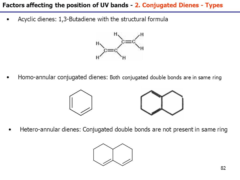 82 Acyclic dienes: 1,3-Butadiene with the structural formula Homo-annular conjugated dienes: Both conjugated double bonds are in same ring Hetero-annu