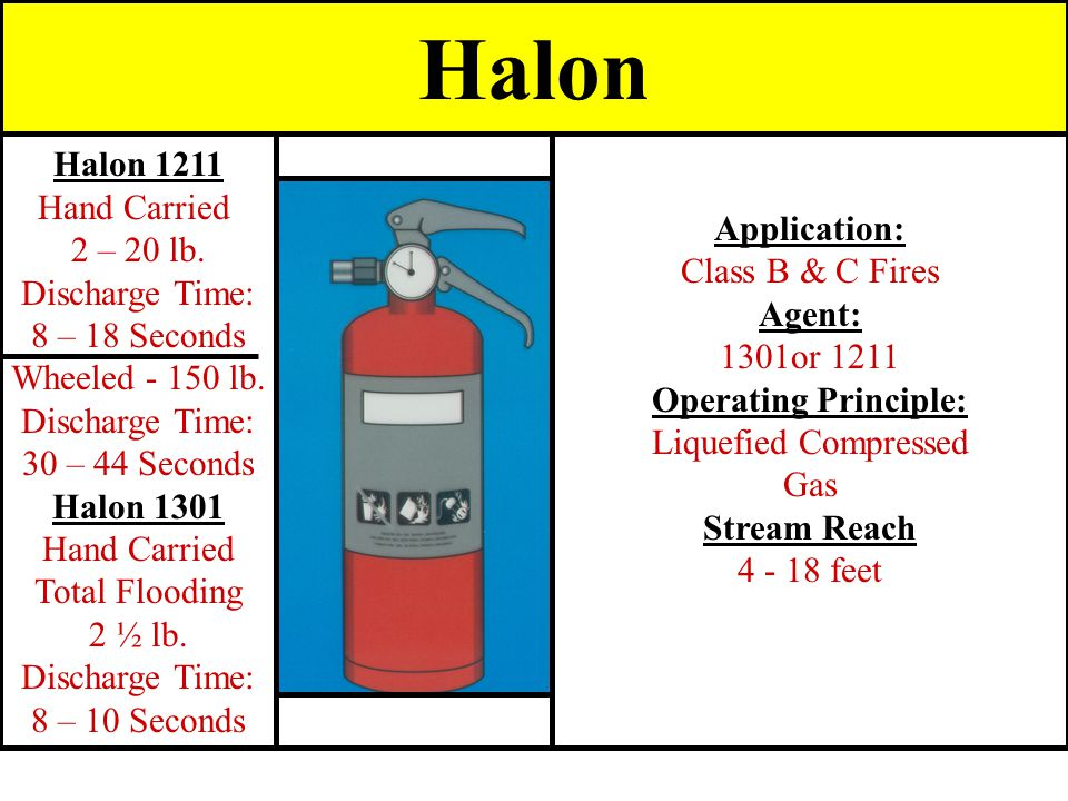 Application: Class B & C Fires Agent: 1301or 1211 Operating Principle: Liquefied Compressed Gas Stream Reach 4 - 18 feet Halon 1211 Hand Carried 2 – 2
