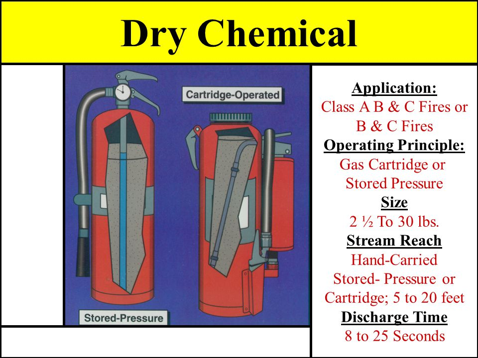 Dry Chemical Application: Class A B & C Fires or B & C Fires Operating Principle: Gas Cartridge or Stored Pressure Size 2 ½ To 30 lbs. Stream Reach Ha