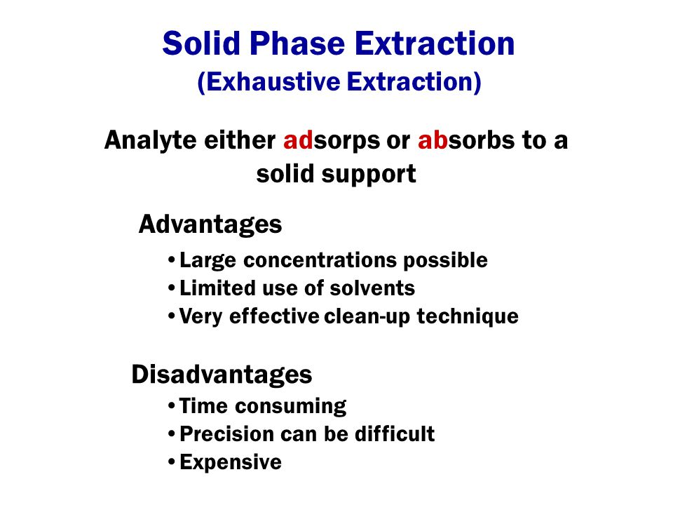 Solid Phase Extraction - Air (Exhaustive Extraction) Sorbent Environment Vacuum pump Ambient air Lab N 2 in Sorbent Sample