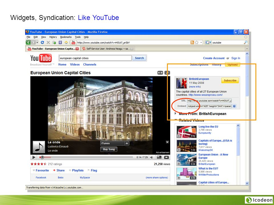 Widgets, Syndication: Like YouTube
