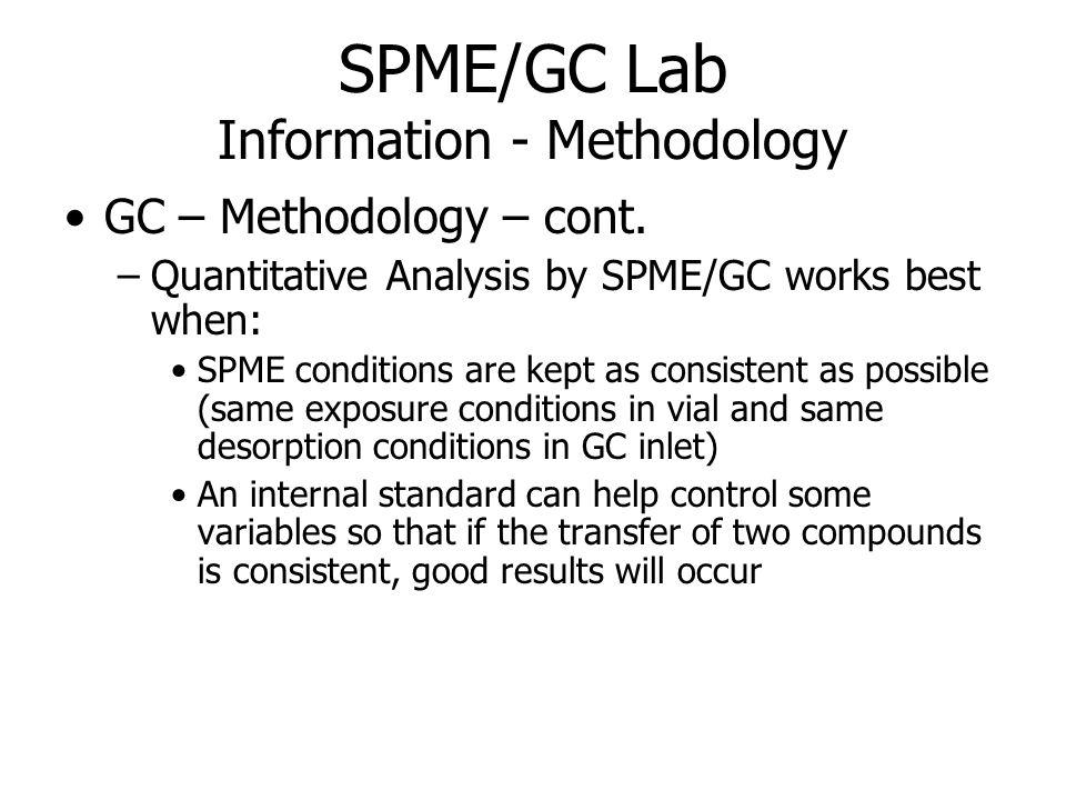 SPME/GC Lab Information - Methodology GC – Methodology – cont.