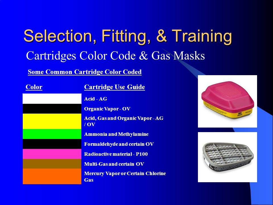 Selection, Fitting, & Training Cartridges Color Code & Gas Masks Some Common Cartridge Color Coded ColorCartridge Use Guide Acid - AG Organic Vapor -