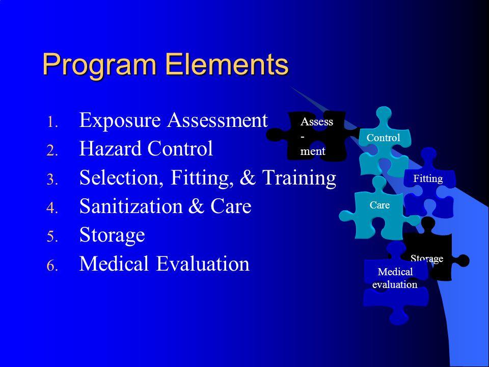 Program Elements 1. Exposure Assessment 2. Hazard Control 3. Selection, Fitting, & Training 4. Sanitization & Care 5. Storage 6. Medical Evaluation St