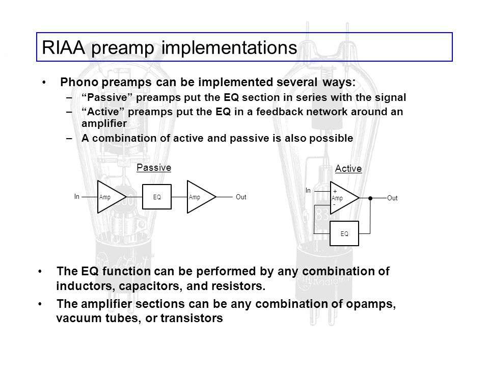 RIAA preamp implementations Phono preamps can be implemented several ways: –Passive preamps put the EQ section in series with the signal –Active pream