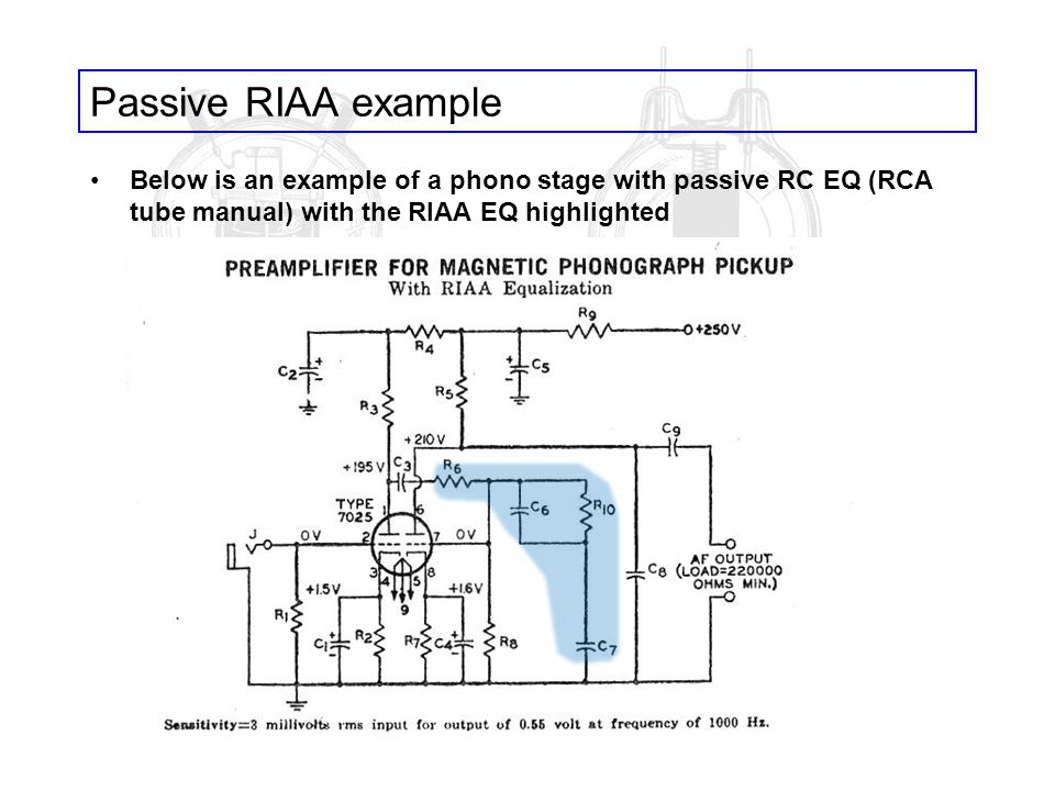 Passive RIAA example Below is an example of a phono stage with passive RC EQ (RCA tube manual) with the RIAA EQ highlighted