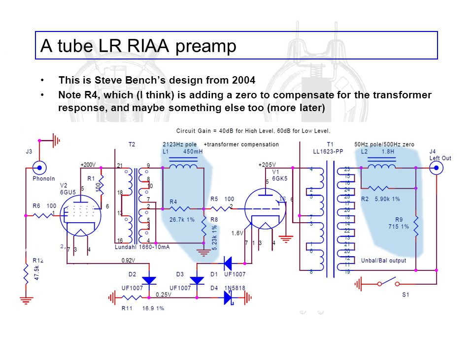 A tube LR RIAA preamp This is Steve Benchs design from 2004 Note R4, which (I think) is adding a zero to compensate for the transformer response, and