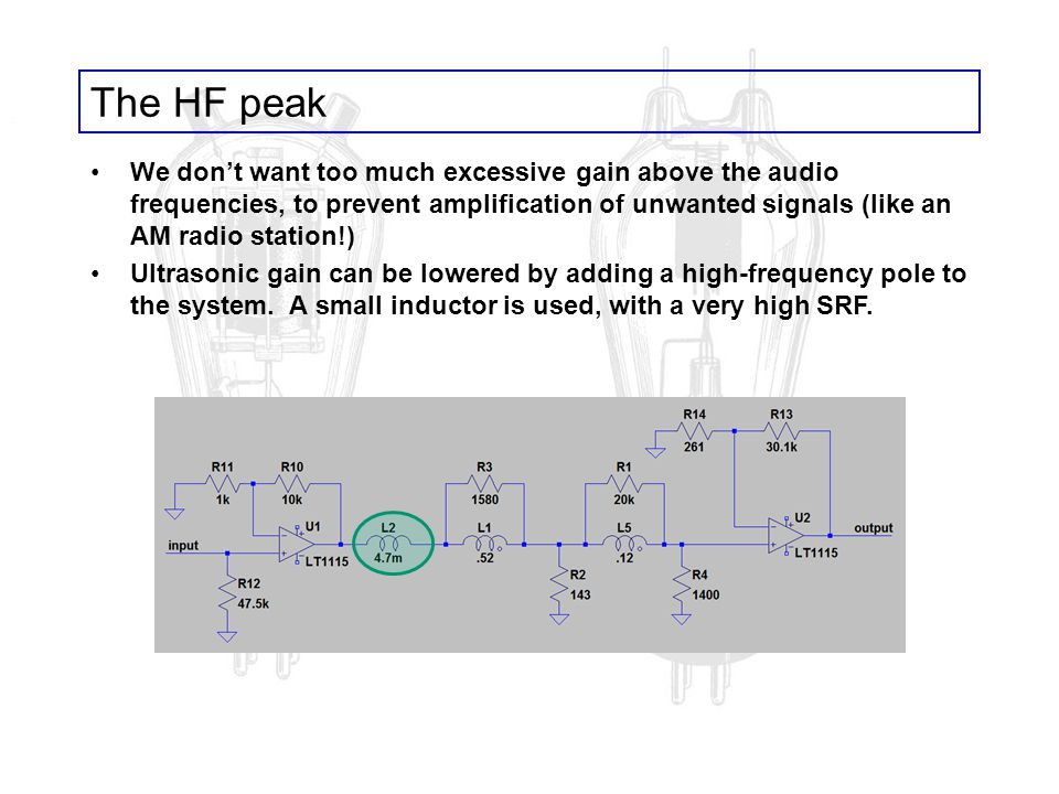The HF peak We dont want too much excessive gain above the audio frequencies, to prevent amplification of unwanted signals (like an AM radio station!)