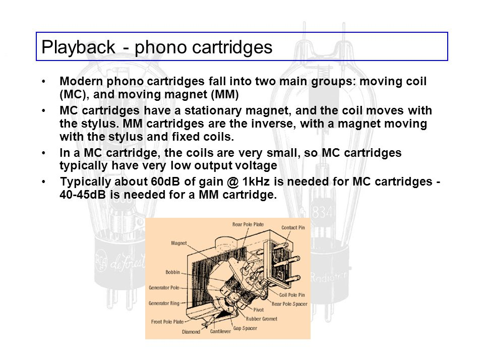 Playback - phono cartridges Modern phono cartridges fall into two main groups: moving coil (MC), and moving magnet (MM) MC cartridges have a stationar