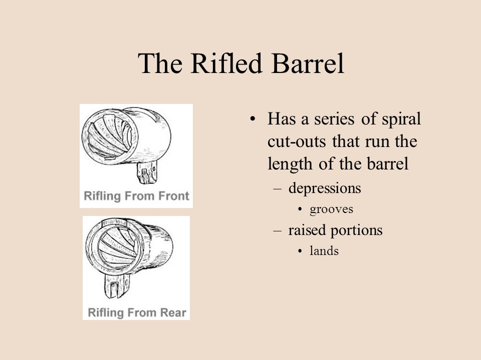 The Rifled Barrel Has a series of spiral cut-outs that run the length of the barrel –depressions grooves –raised portions lands