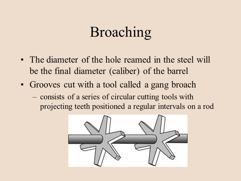 Broaching The diameter of the hole reamed in the steel will be the final diameter (caliber) of the barrel Grooves cut with a tool called a gang broach