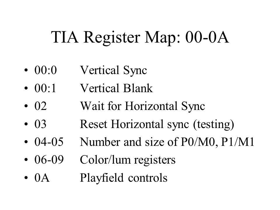 TIA Register Map: 00-0A 00:0Vertical Sync 00:1Vertical Blank 02Wait for Horizontal Sync 03Reset Horizontal sync (testing) 04-05Number and size of P0/M